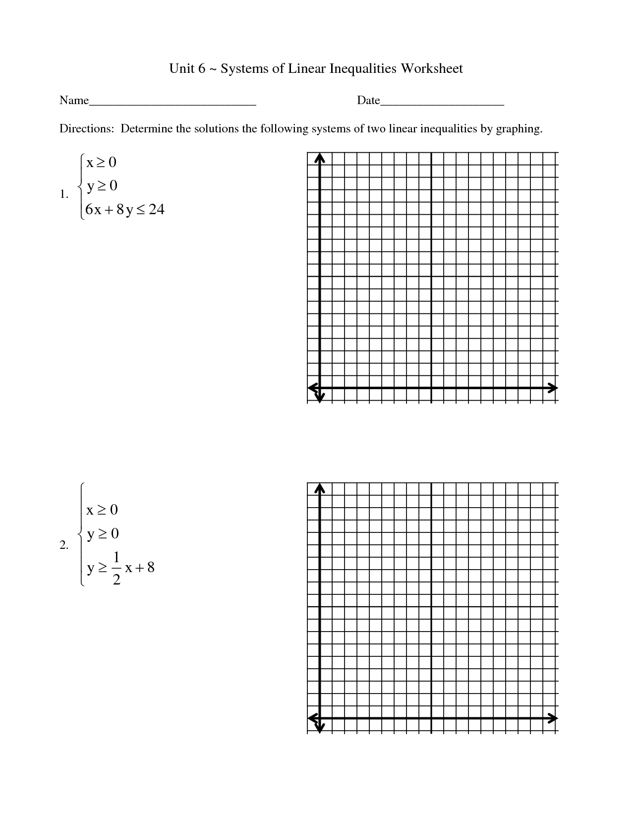 Graphing Inequalities Worksheet Pre Algebra