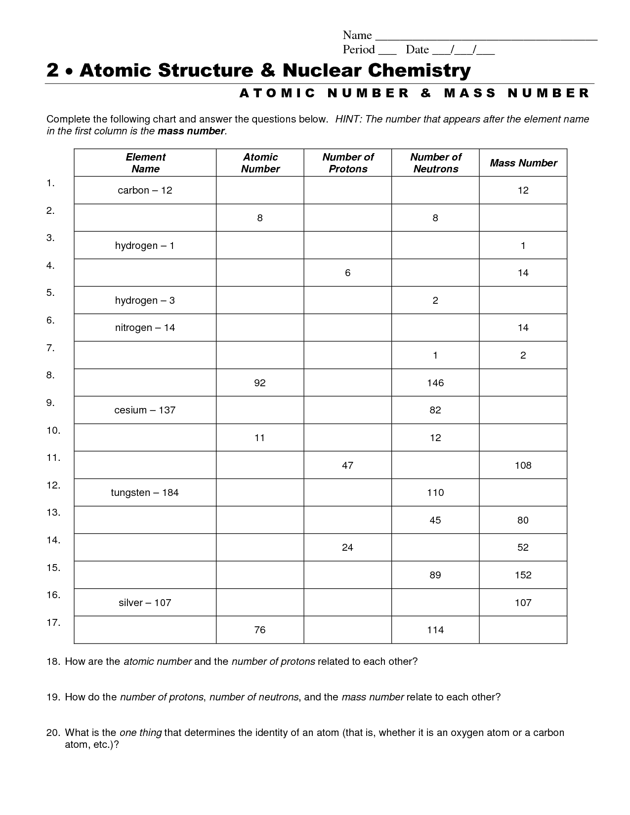 8 Best Images Of Chemistry Review Worksheets