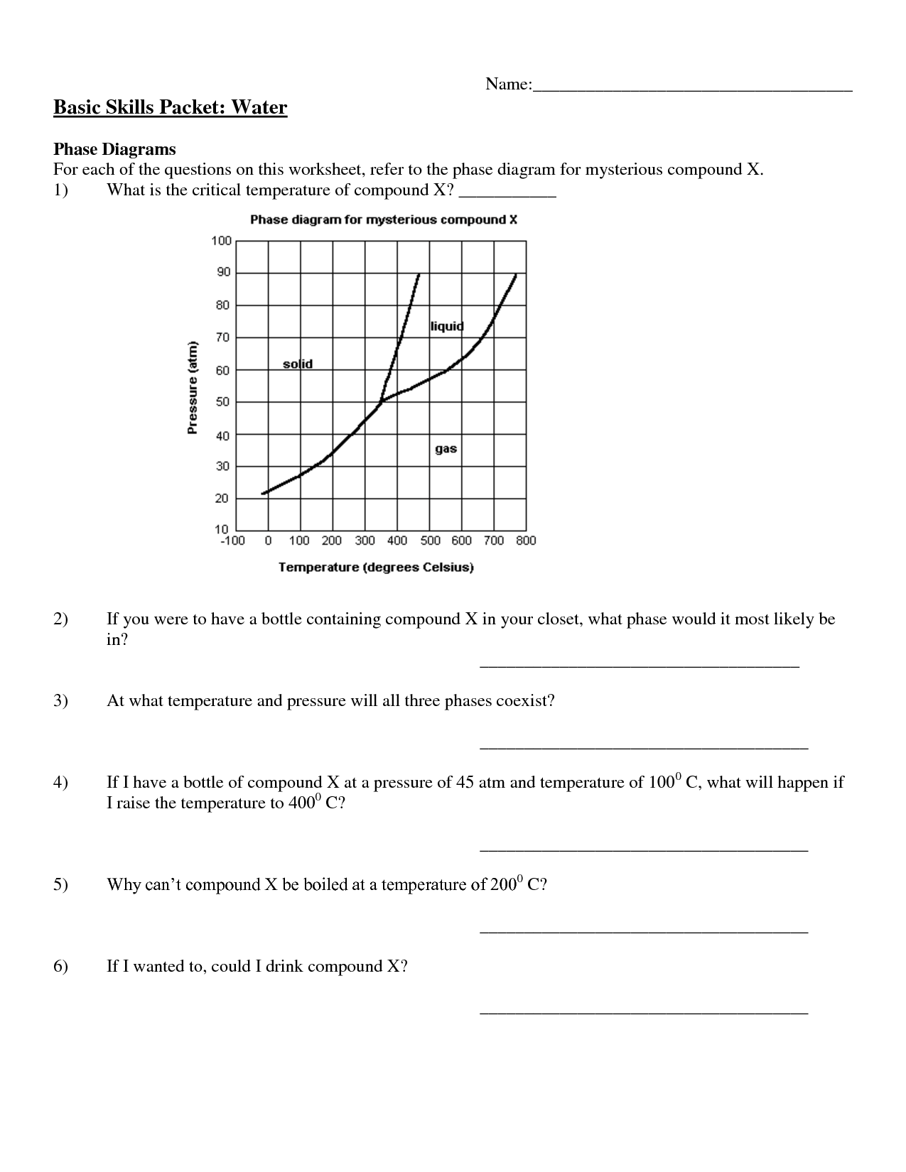 Phase Change Of Water Worksheet Phase Change Diagram