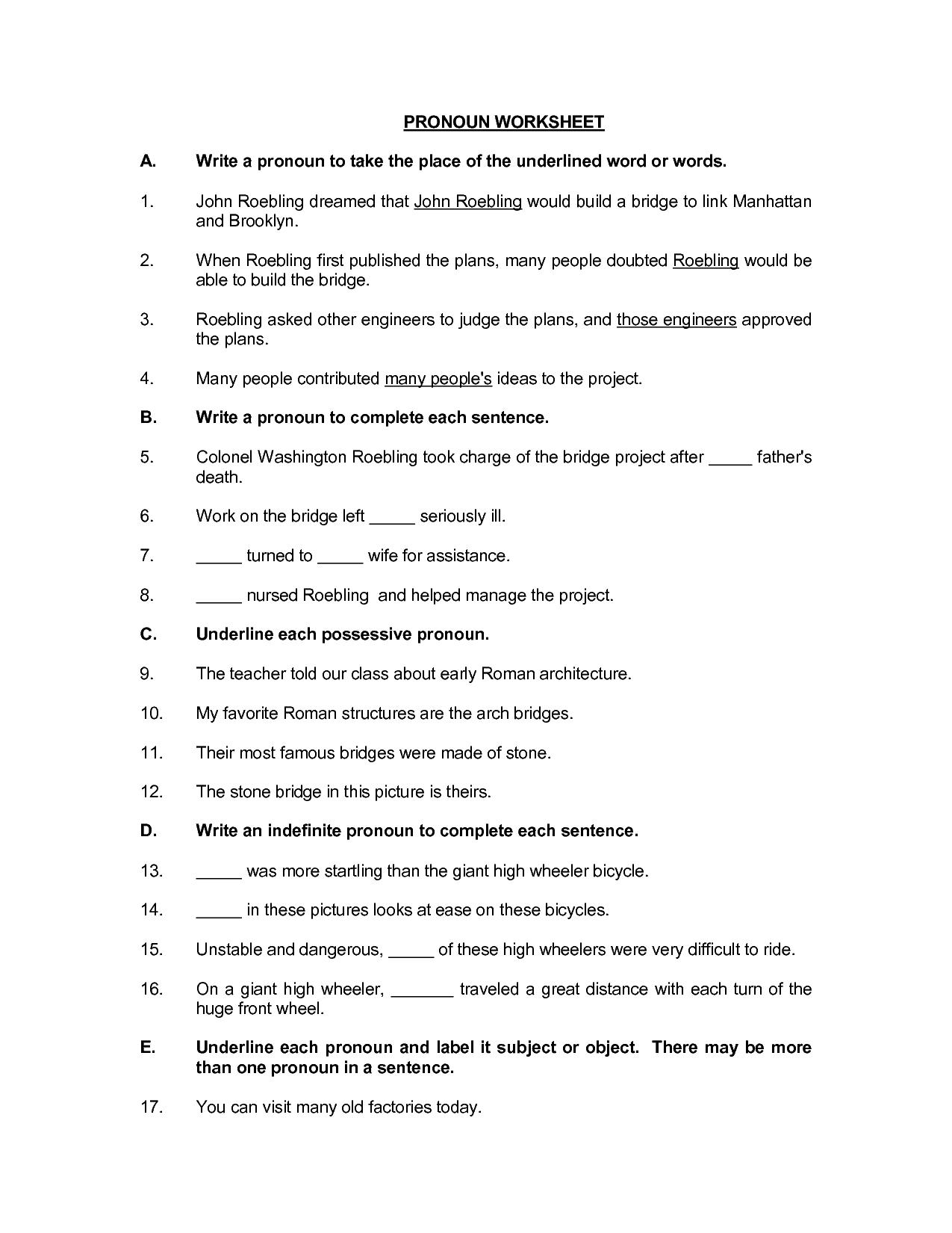 16 Best Images Of 2nd Grade Pronoun Worksheet