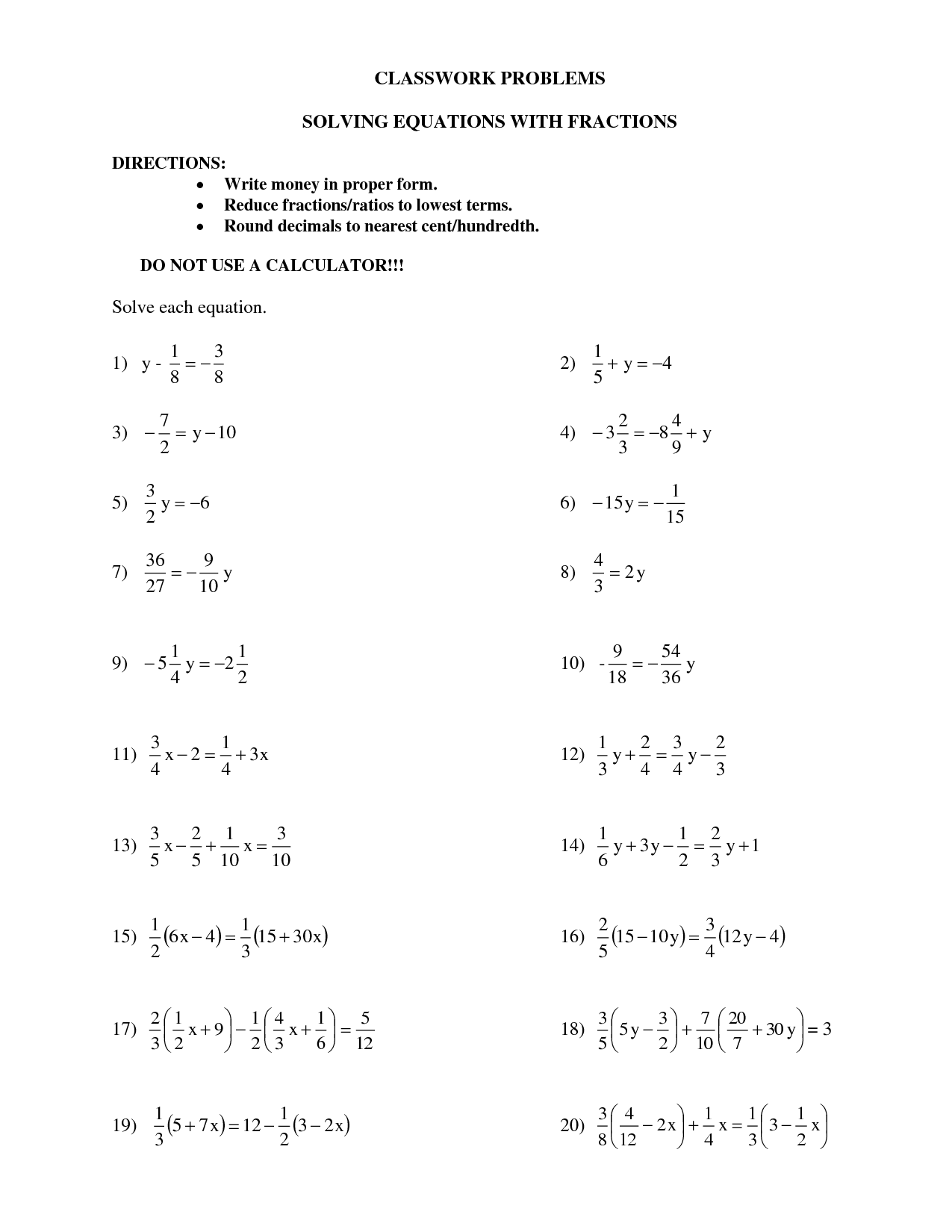 Basic Algabraic Fractions Worksheet