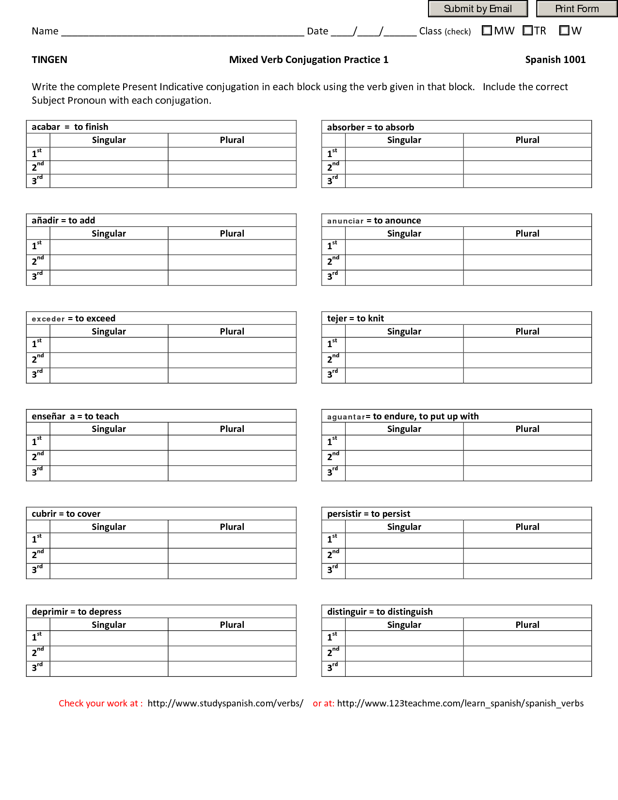 Grammar Worksheet Preterite Tense Irregular Verbs