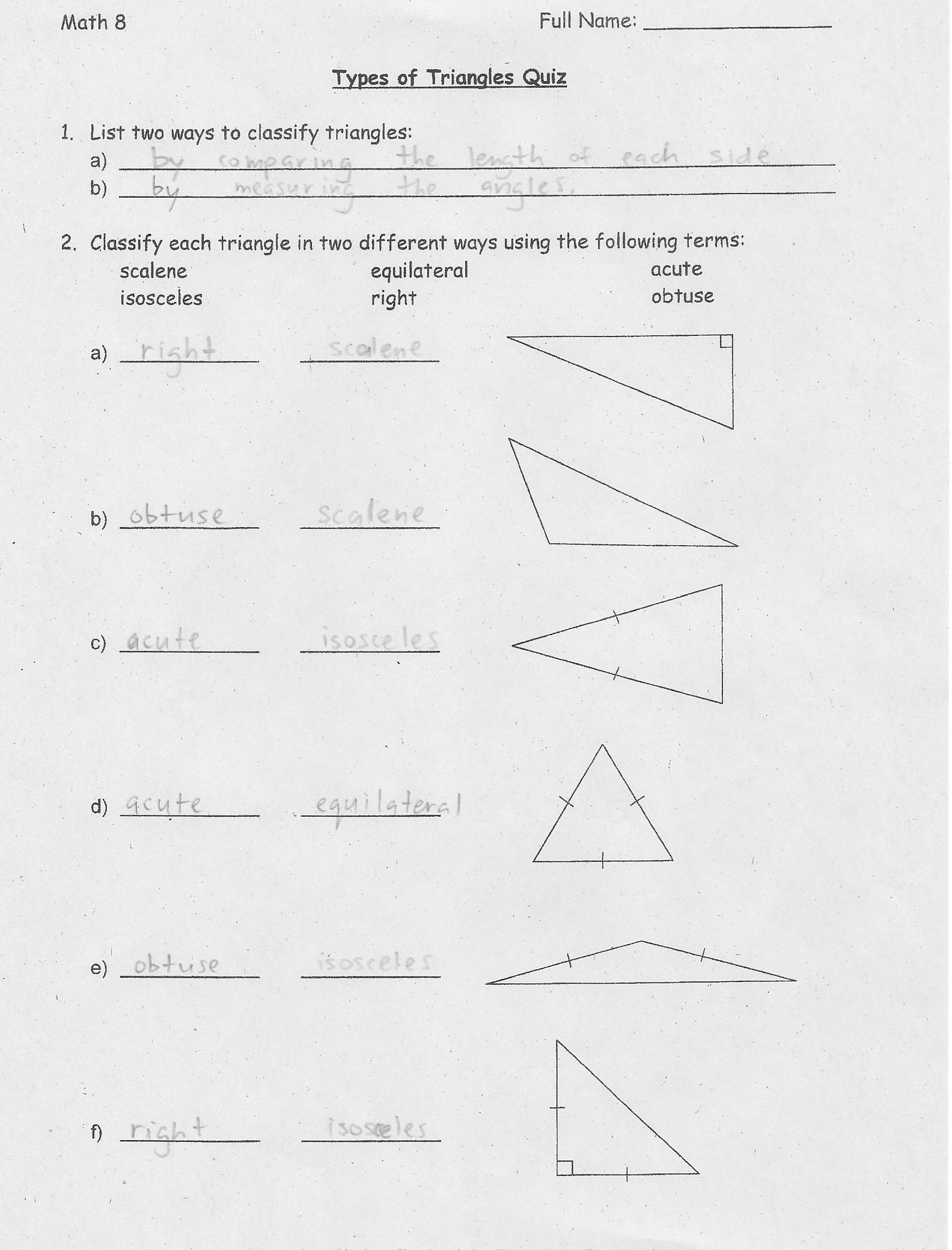 Triangles By Angles Worksheet