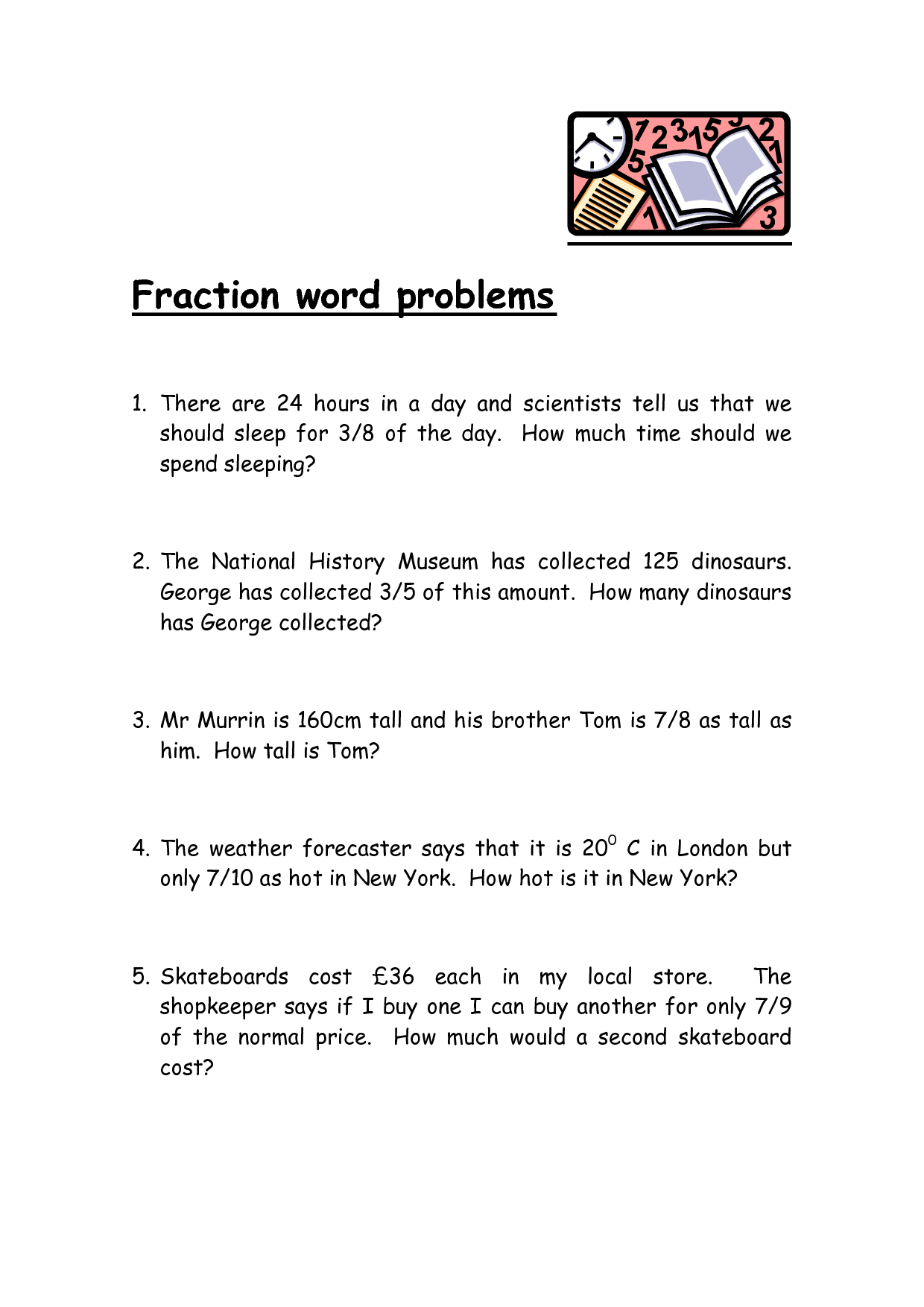 Subtracting Fractions Word Problems Worksheet