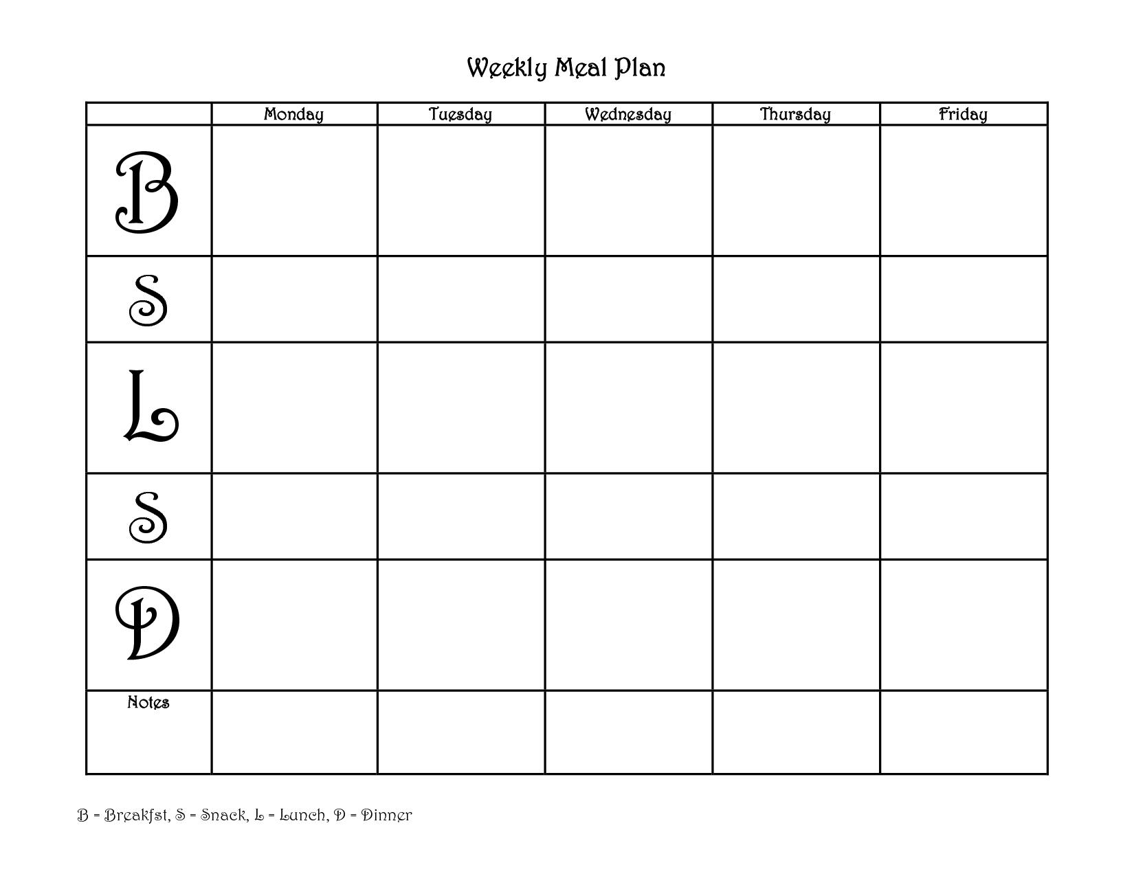 12 Best Images Of Meal Plan Worksheet