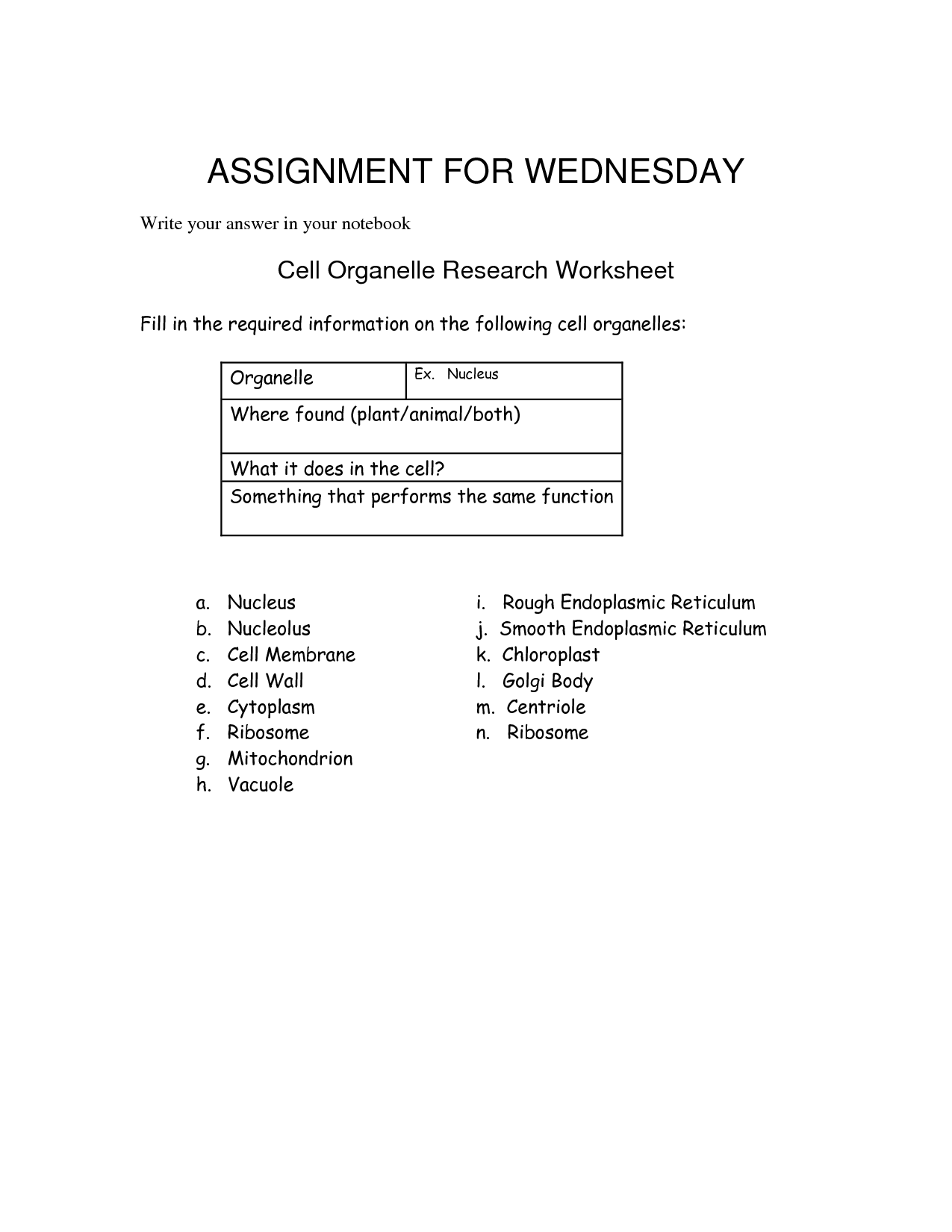 13 Best Images Of Cell Organelles Worksheet Teachers