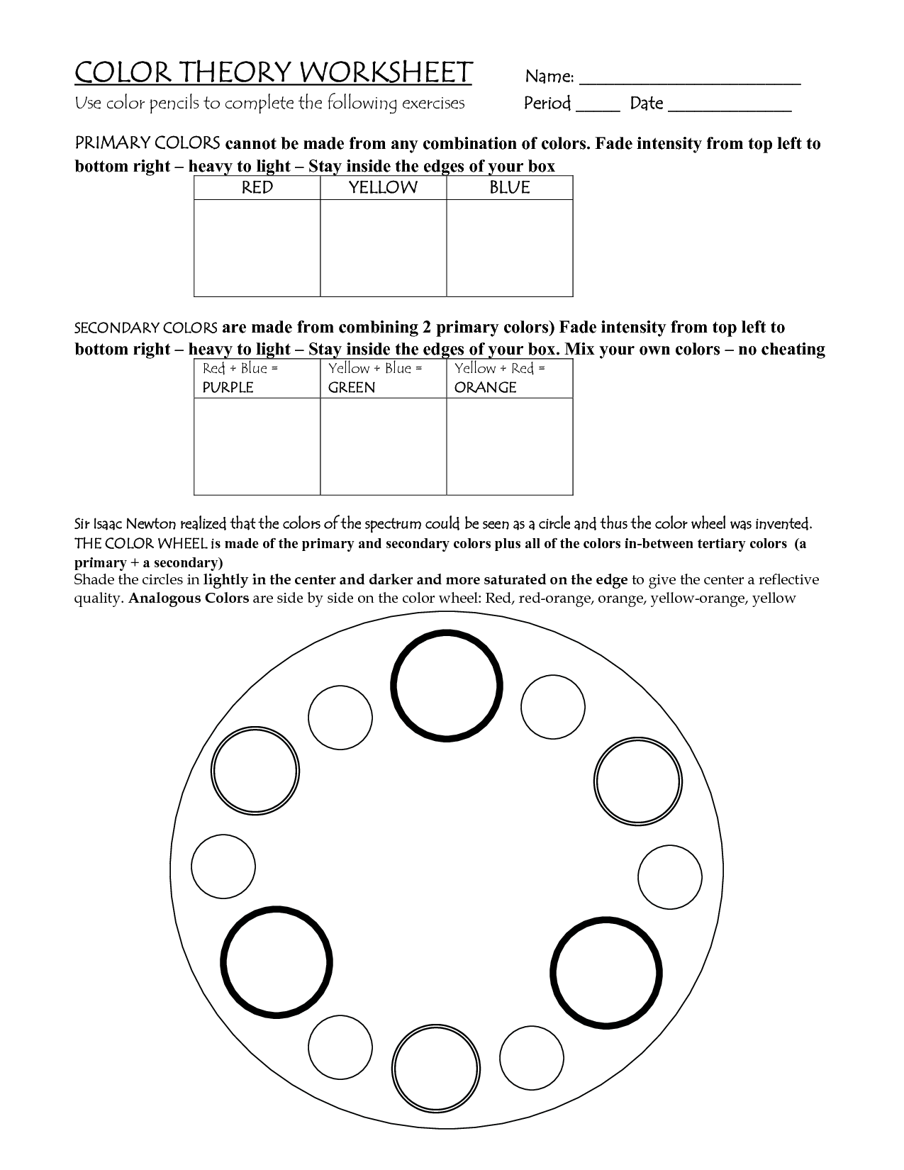 19 Best Images Of Color Theory Worksheets