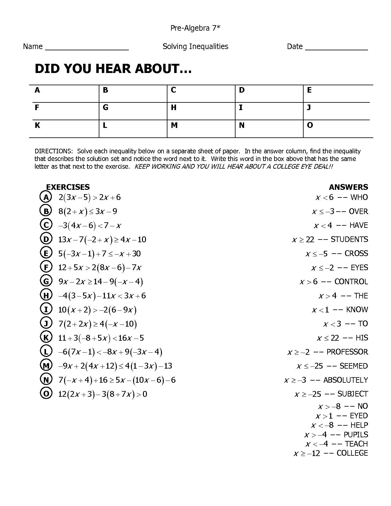 Pizzazz Math Worksheet Algebra