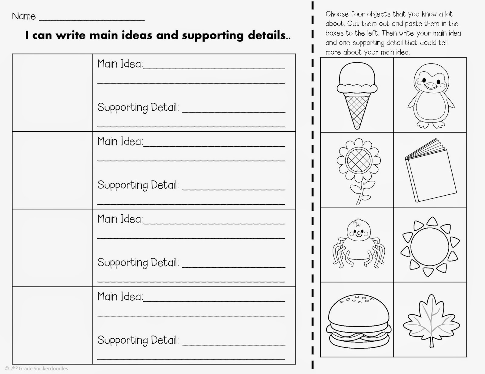 30 Main Idea Worksheet Second Grade