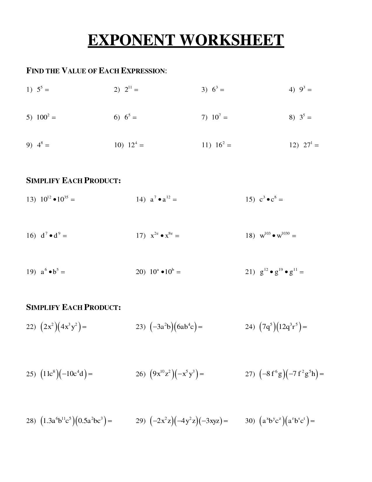 12 Best Images Of Exponents Worksheets 6th Grade