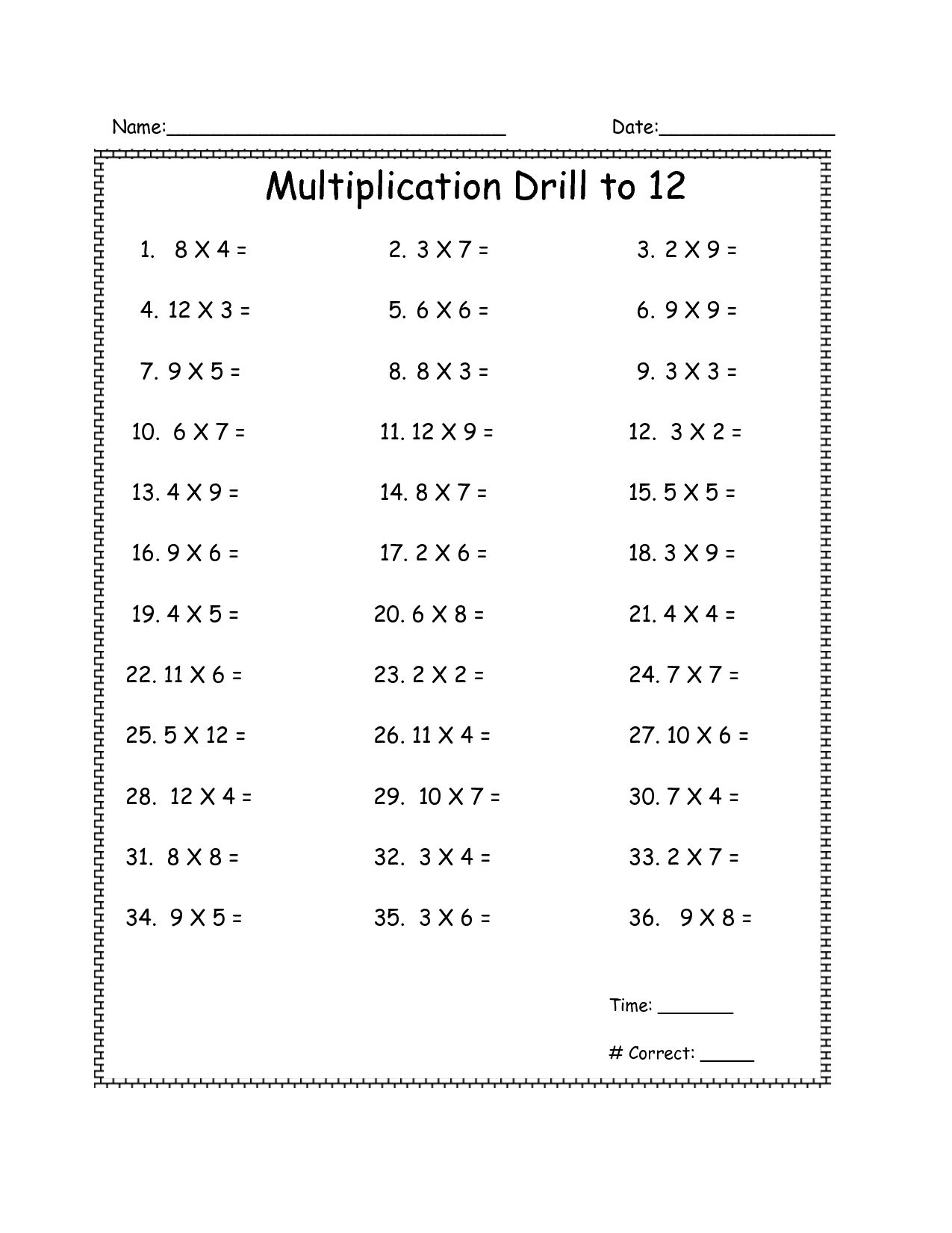 14 Best Images Of Times Table Drill Worksheets 4th Grade