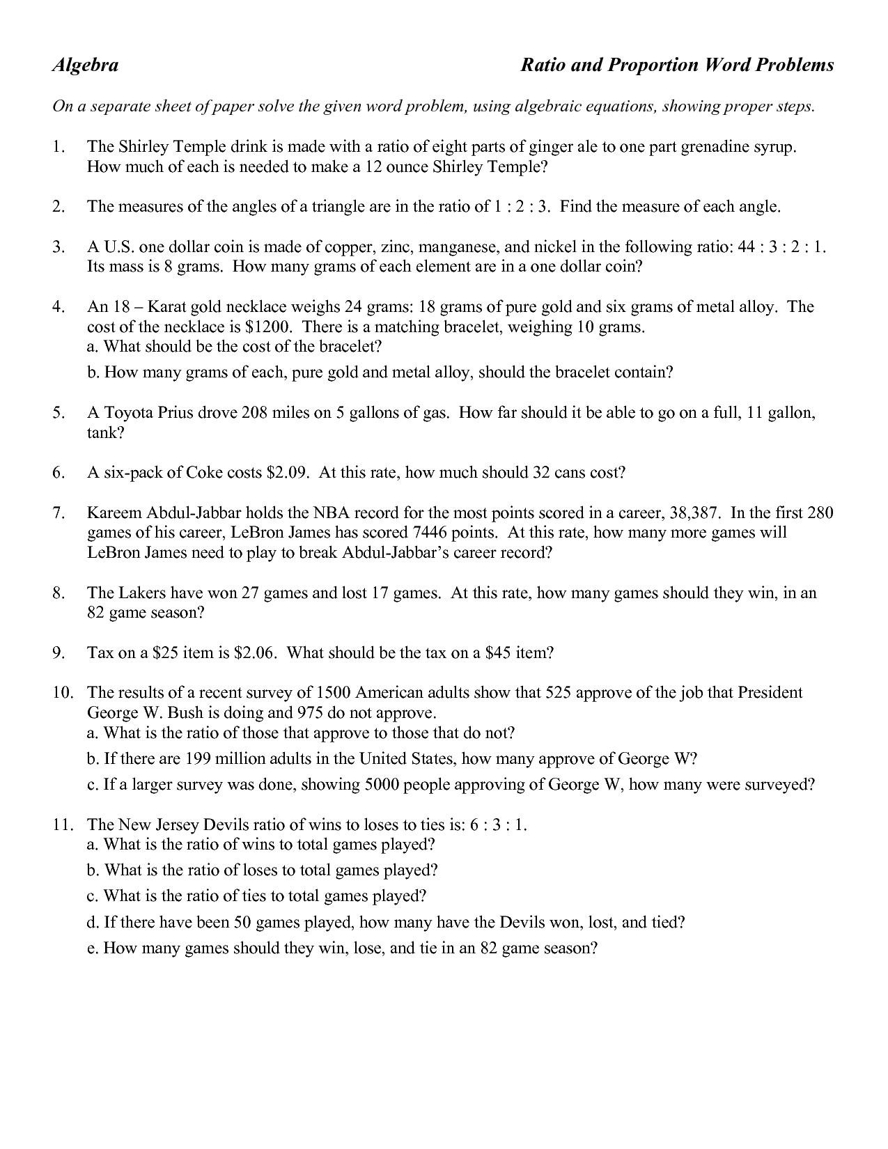 Algebra Word Problem Worksheet