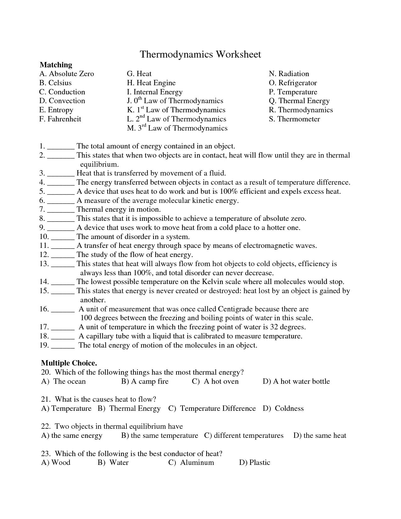 Energy Printable Worksheet