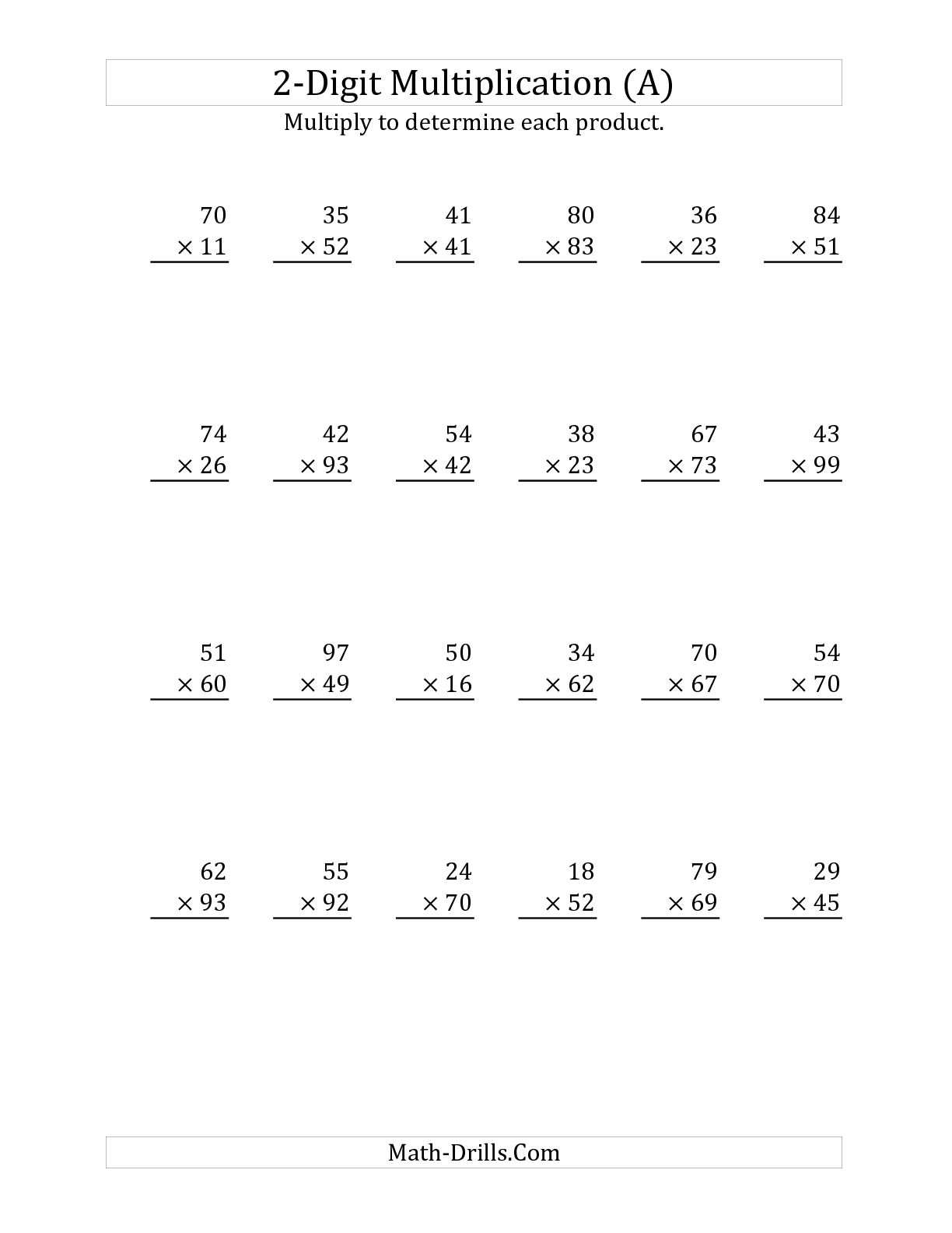 2 Digit Multiplication Worksheet Begginers