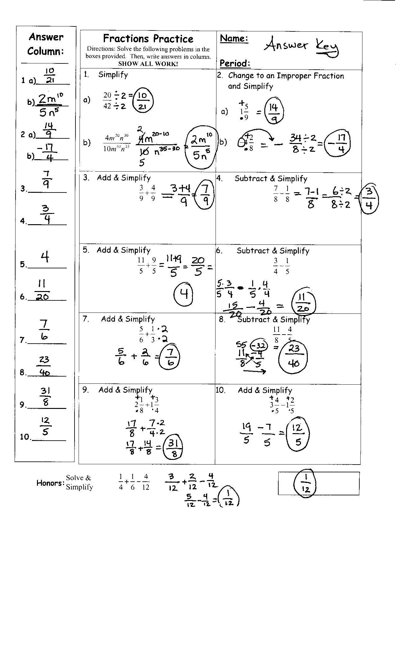 5th Grade Math Fractions Worksheets