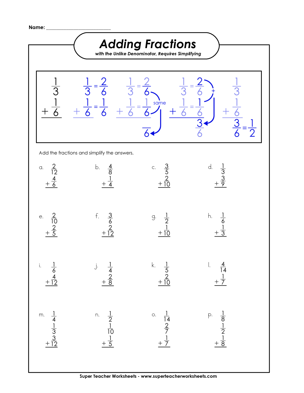 Math Aids Fractions Worksheet With Answer Key