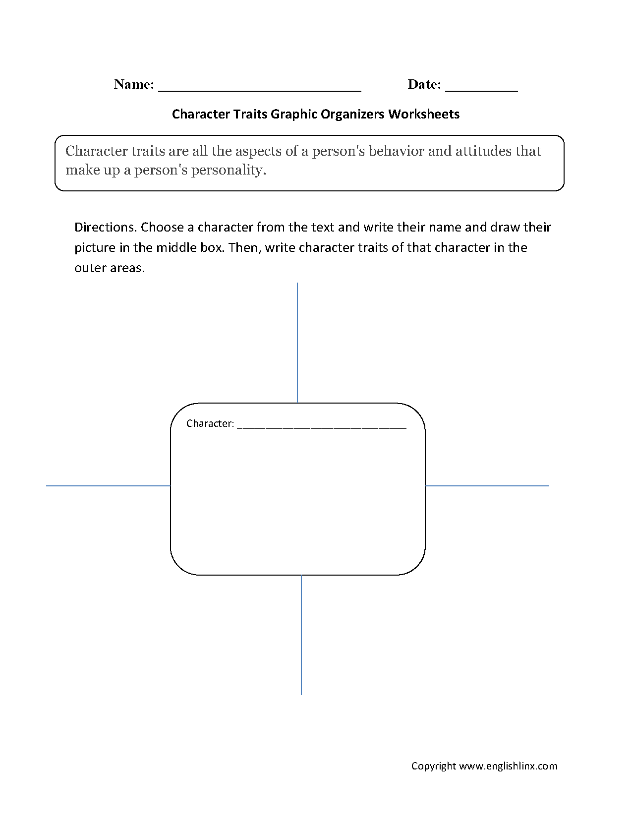 Characterysis Graphic Organizer 4th Grade