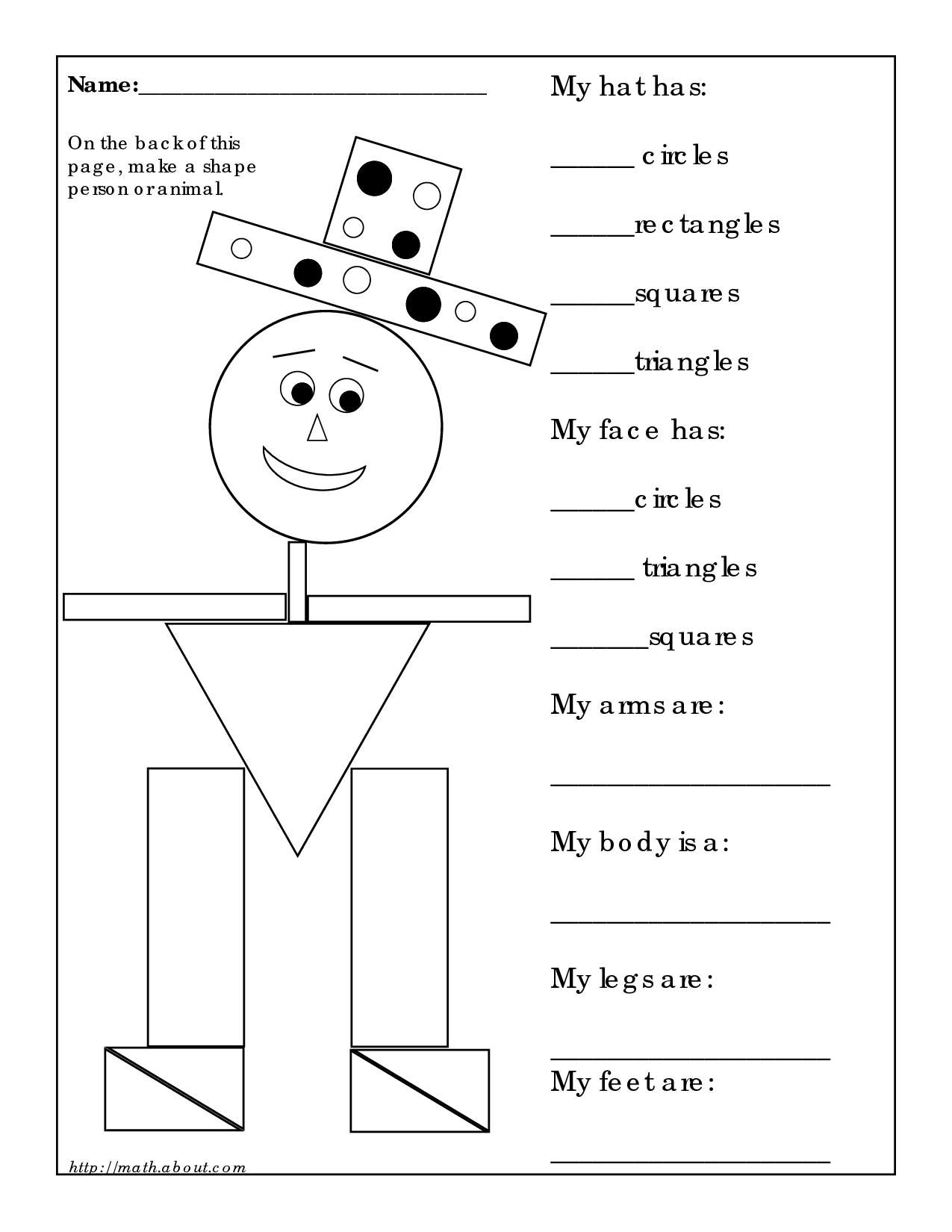 Shapes Kindergarten Worksheet Following Directions