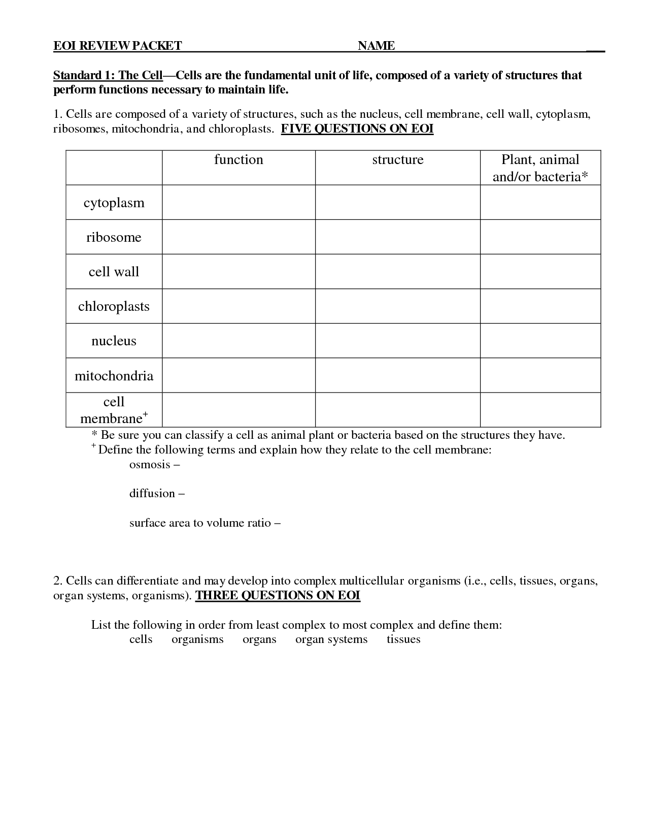 Plant Classification Worksheet