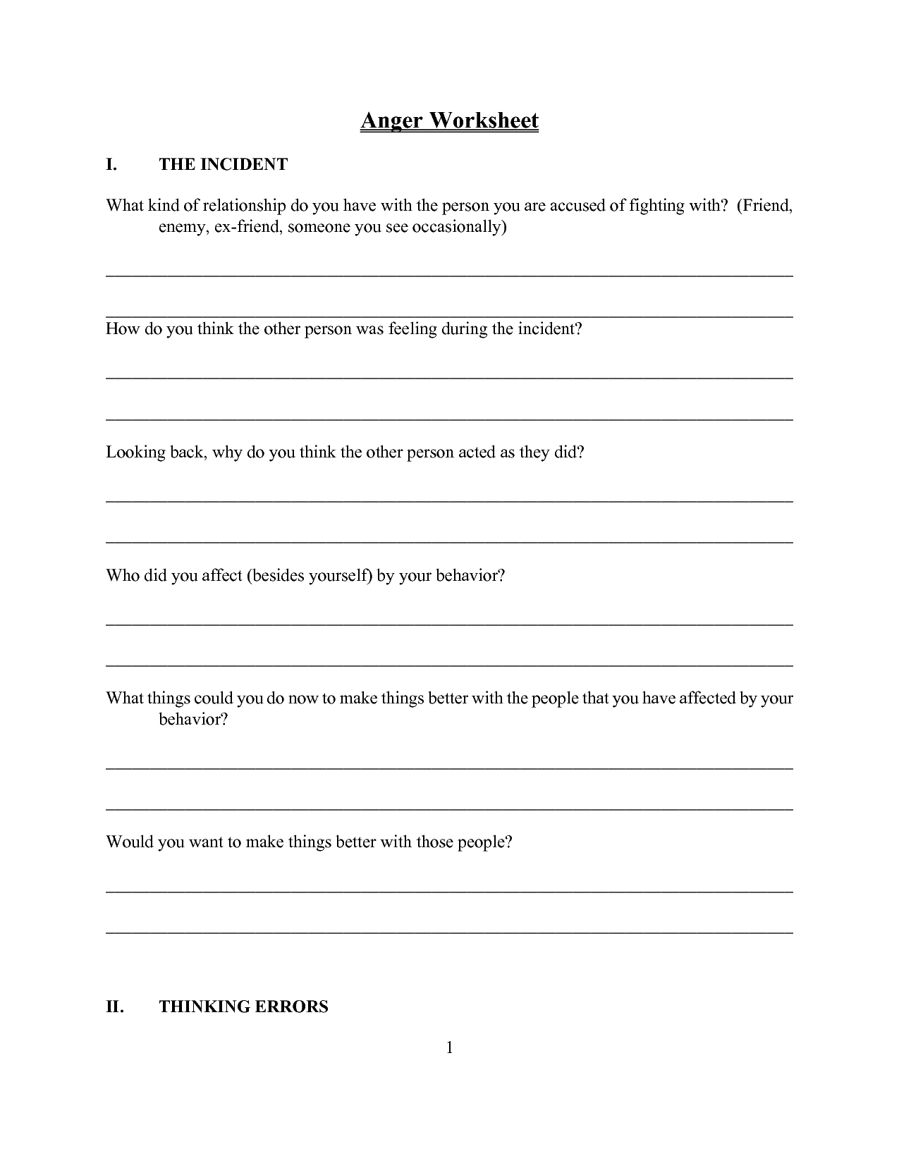 16 Best Images Of Anger Management Worksheets For Children