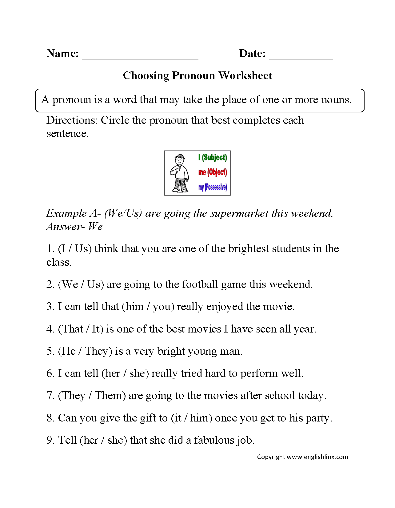 16 Best Images Of Pronouns Worksheets 5th Grade