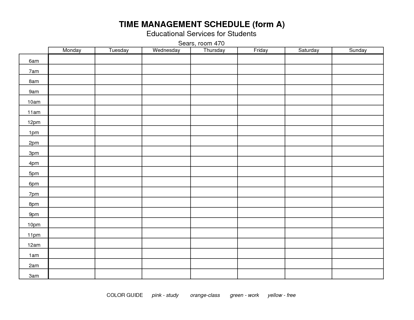 18 Best Images Of Time Management Schedule Worksheets