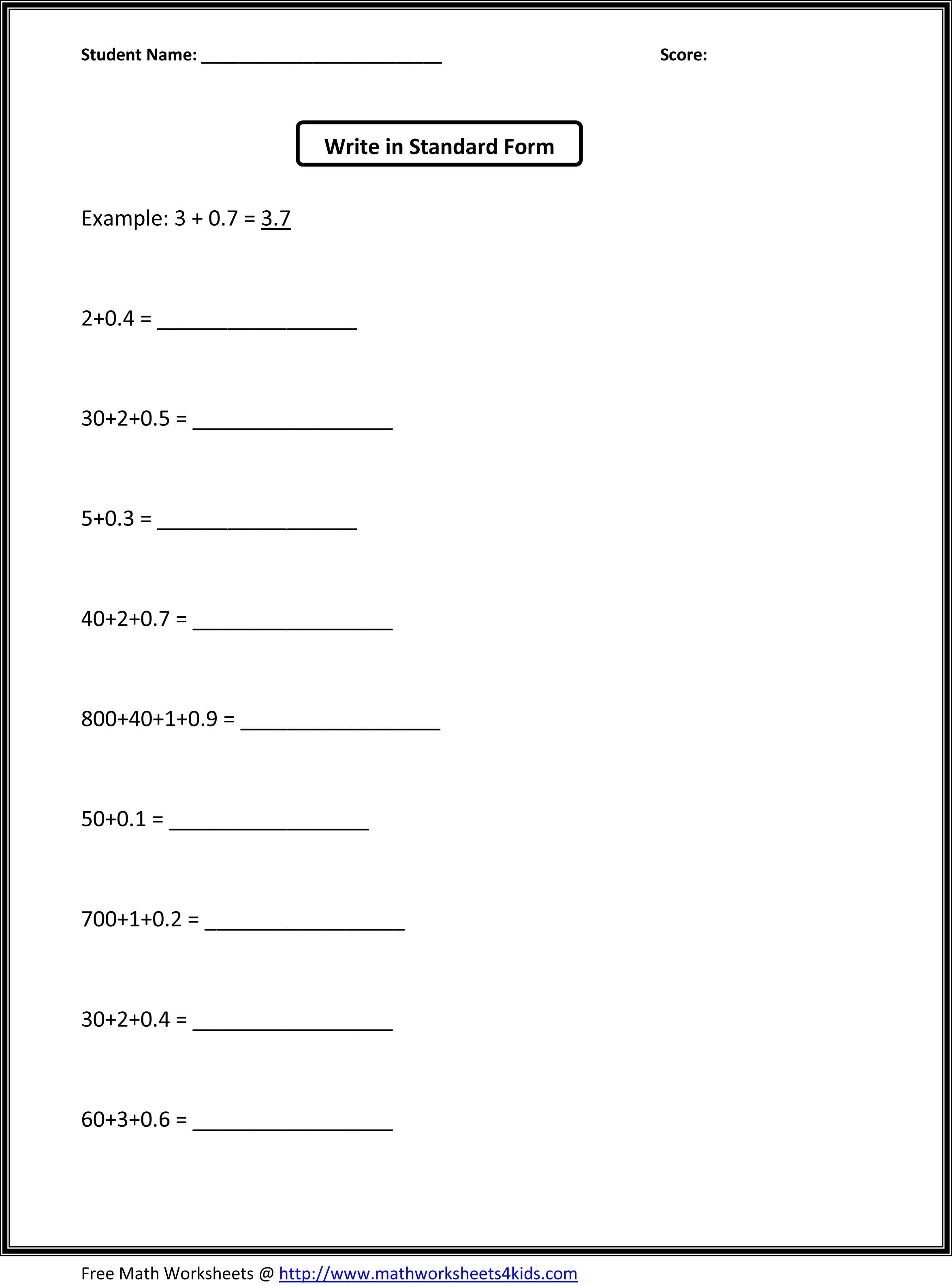 16 Best Images Of Standard Form Worksheets 2nd Grade