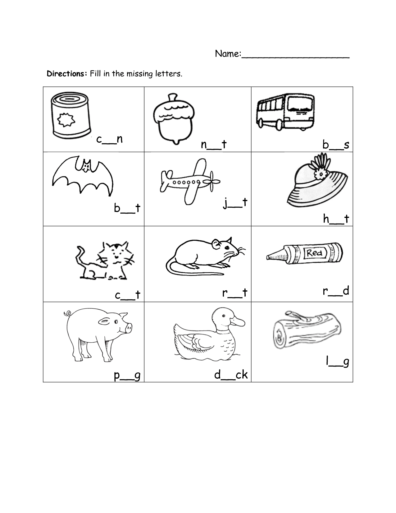 Three Letter Words Worksheet Spelling