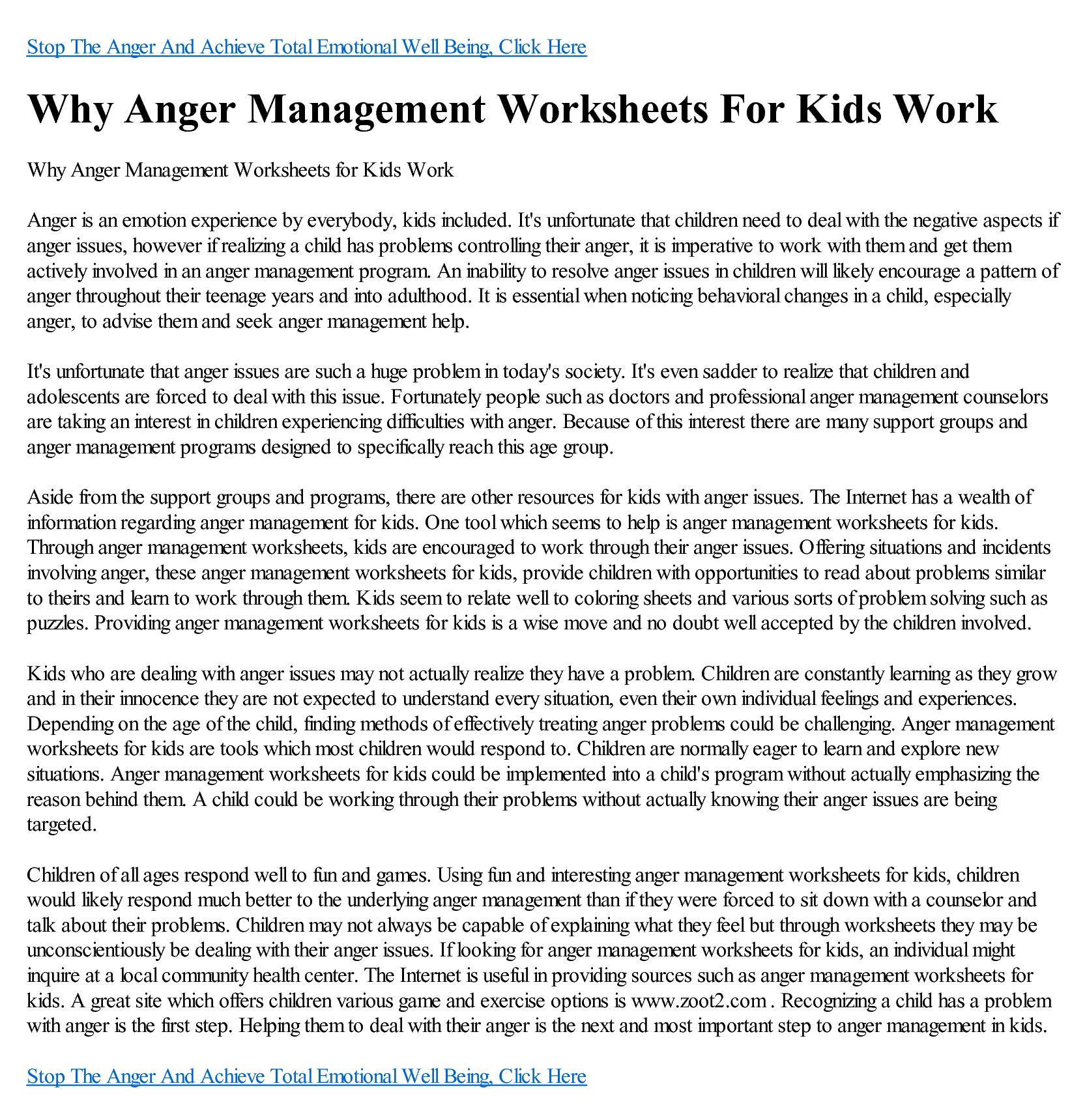 Anger Management Worksheet For Men