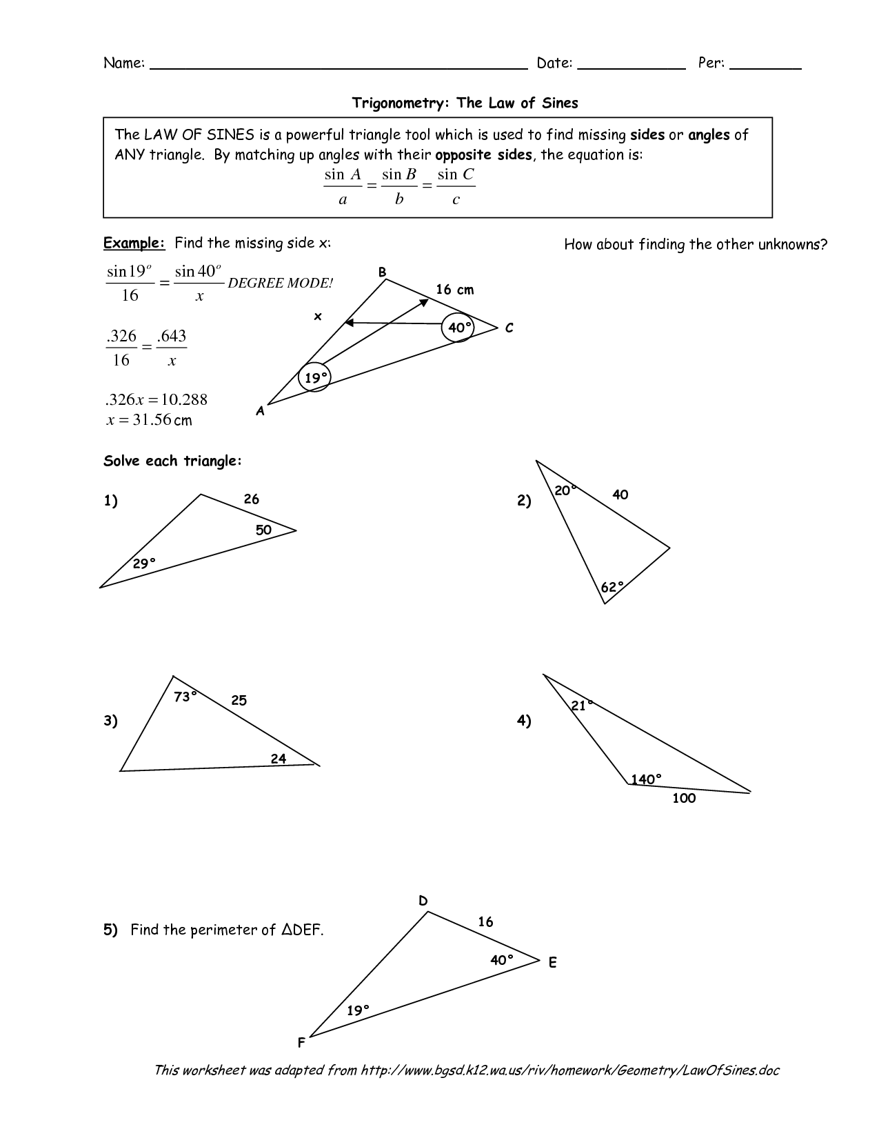 Law Of Sines Worksheet Kuta