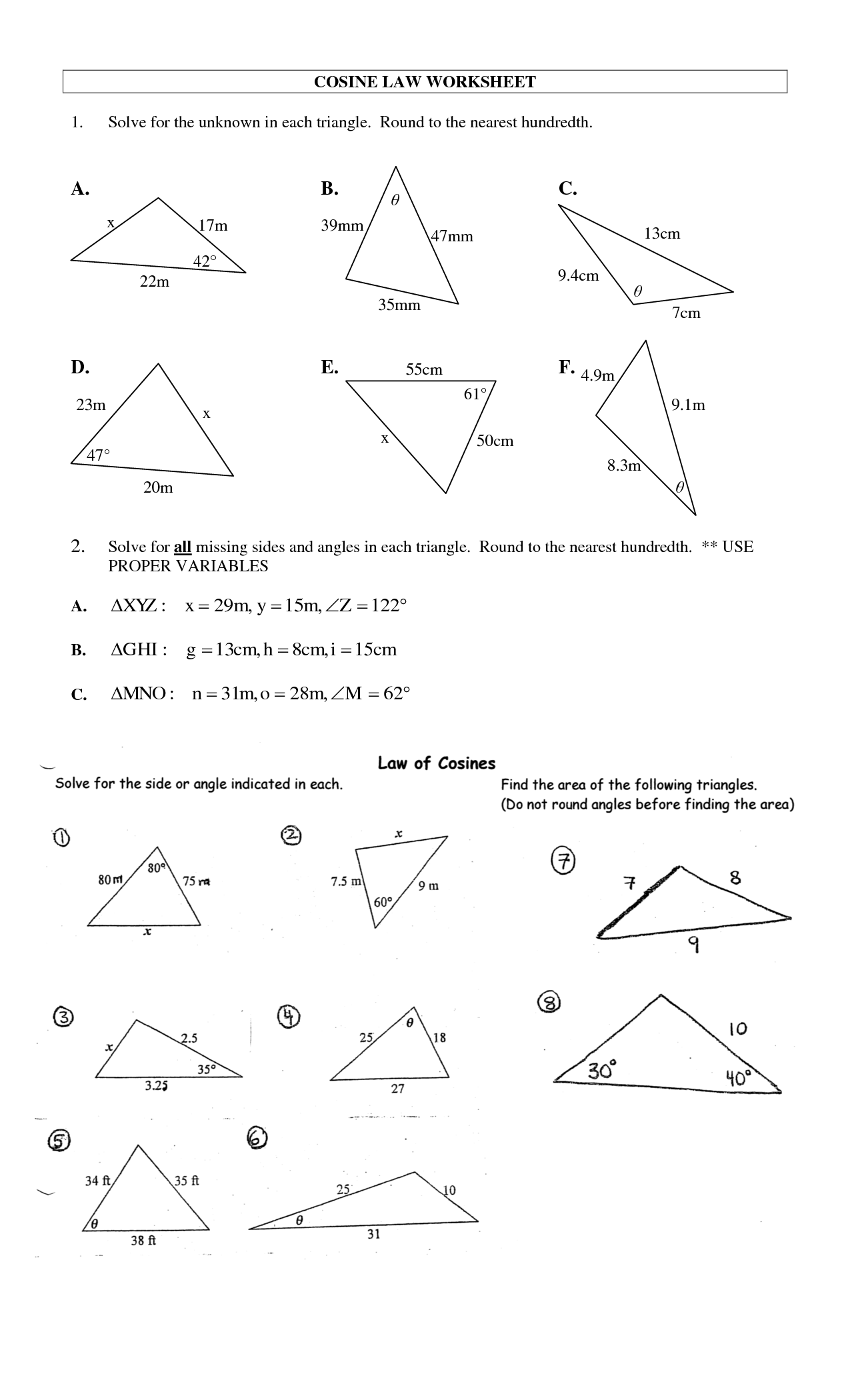 8 Best Images Of Law Of Sines Worksheet Answers