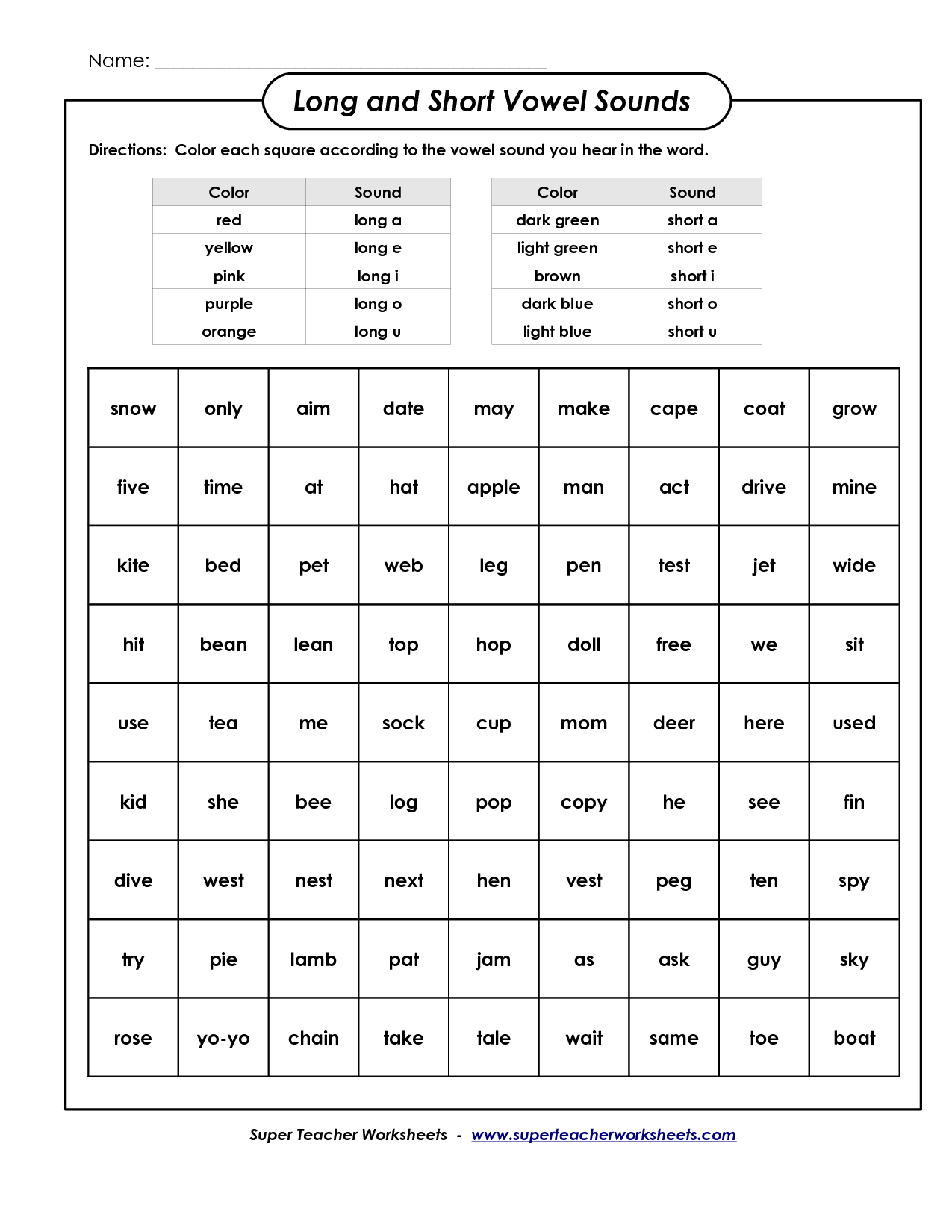 Color Vowel Worksheet