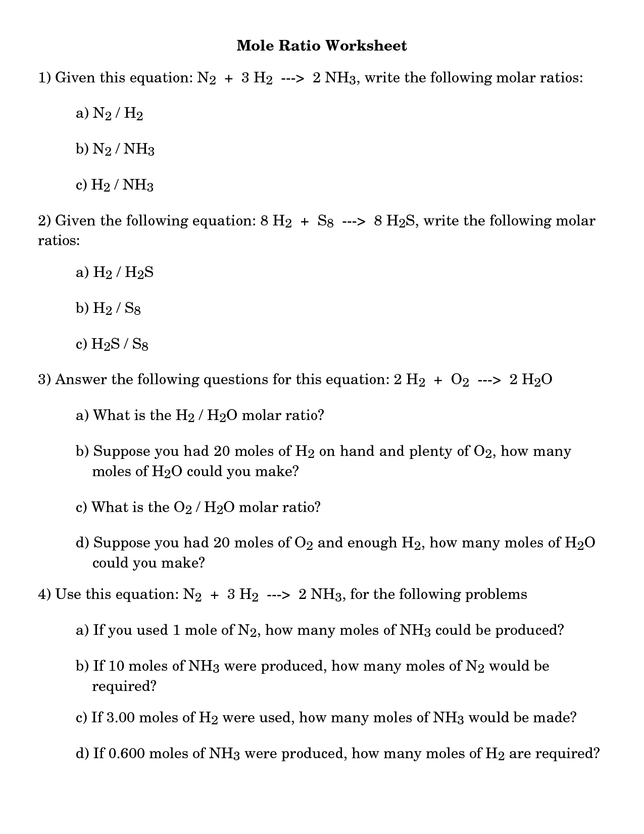 Worksheet On Stoichiometry