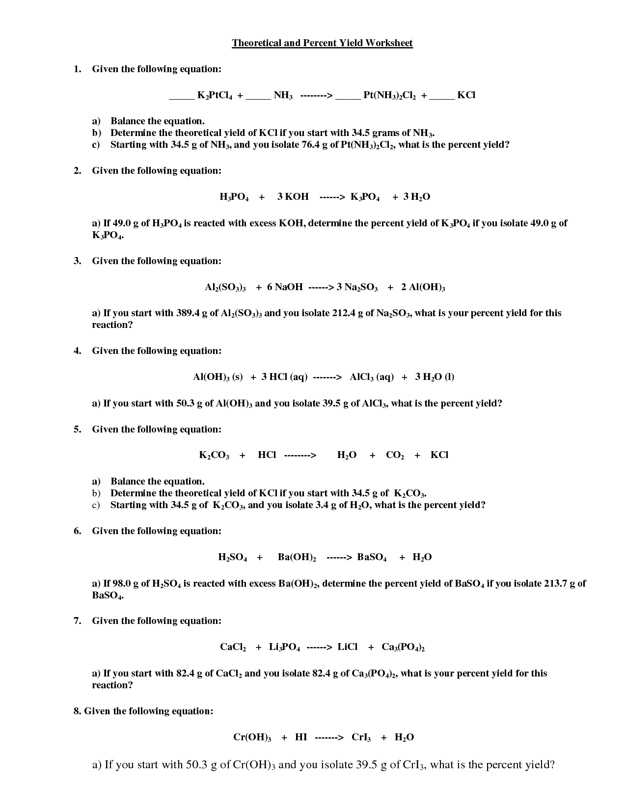 Limiting Reagent Worksheet Stoichiometry Limiting Reagent Worksheet Worksheets Releaseboard