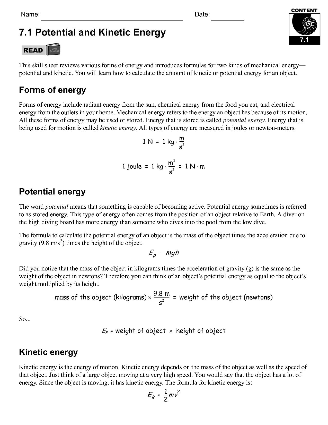 17 Best Images Of Potential Energy Practice Problems Worksheet