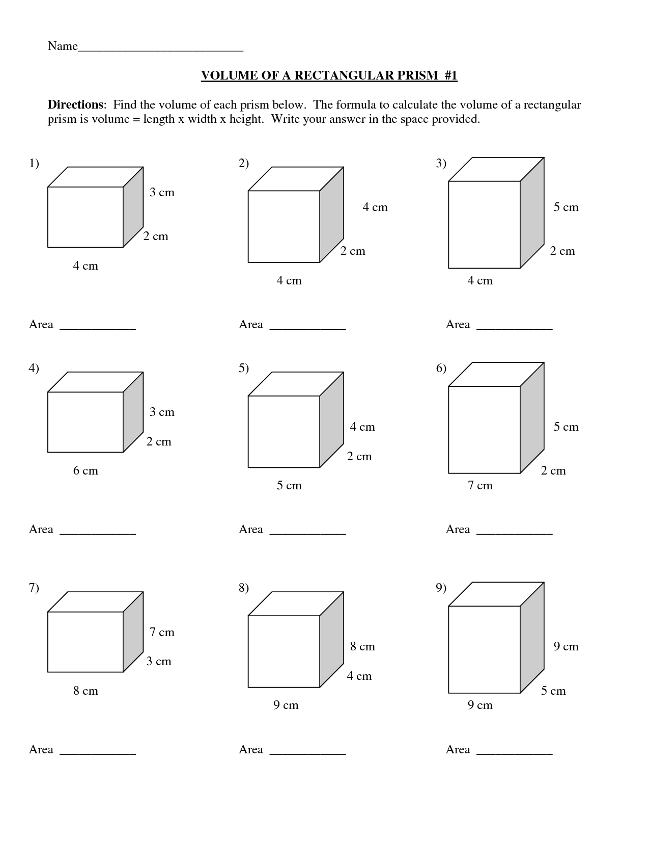 Grade 7 Math Surface Area And Volume Worksheets