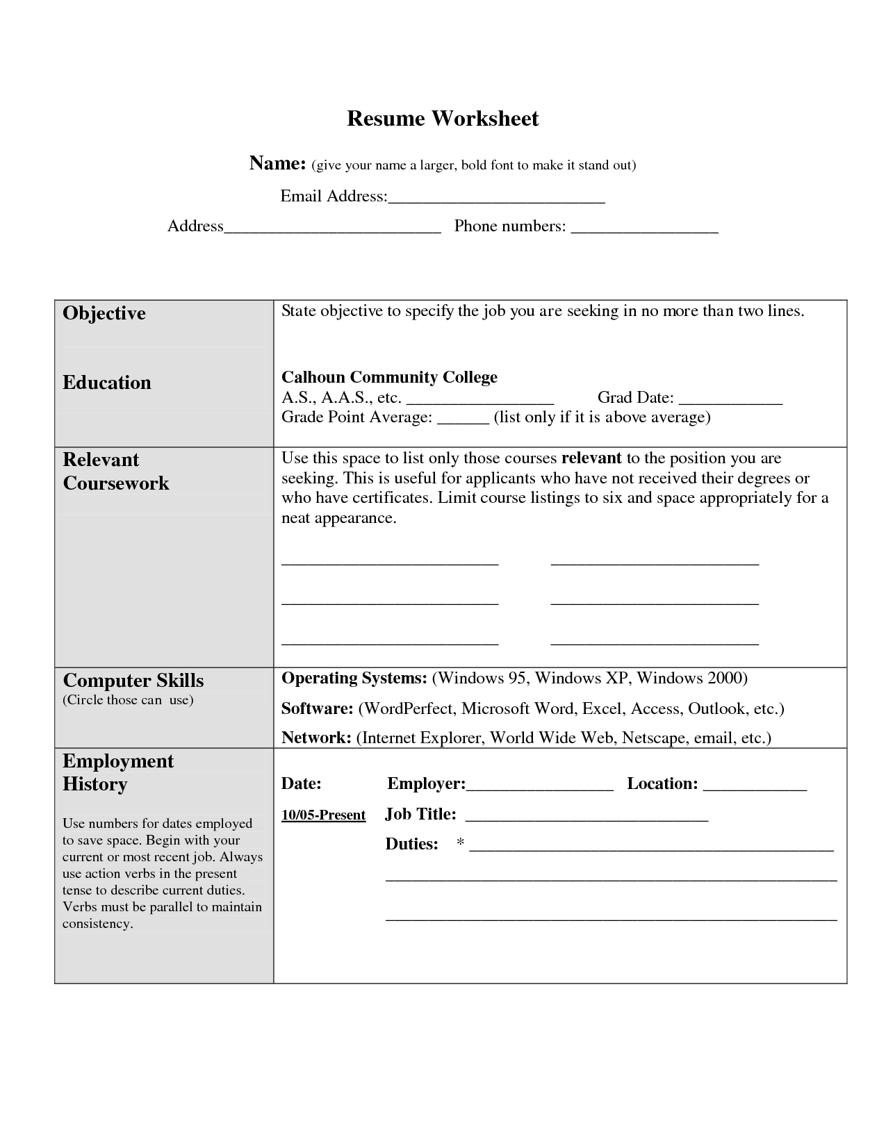 Worksheet For High School Thesis