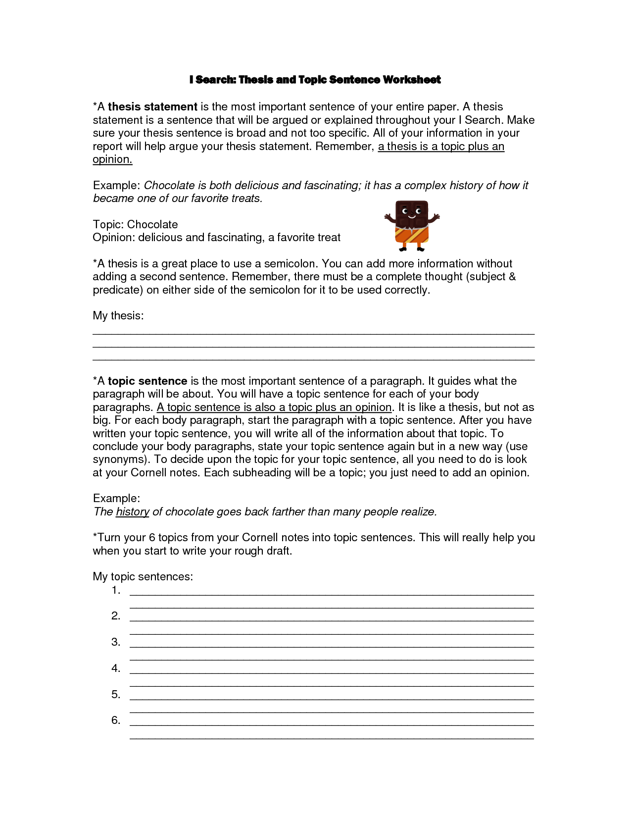 Worksheet Identifying Main Topic Ideas