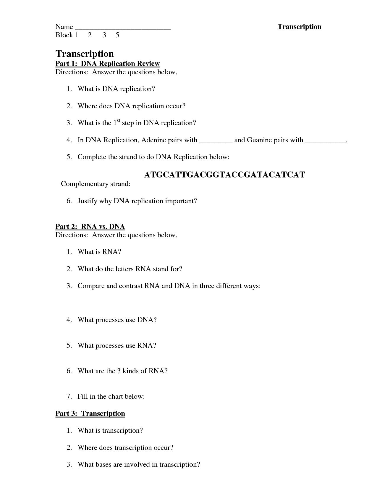 Easydna Translation Worksheet