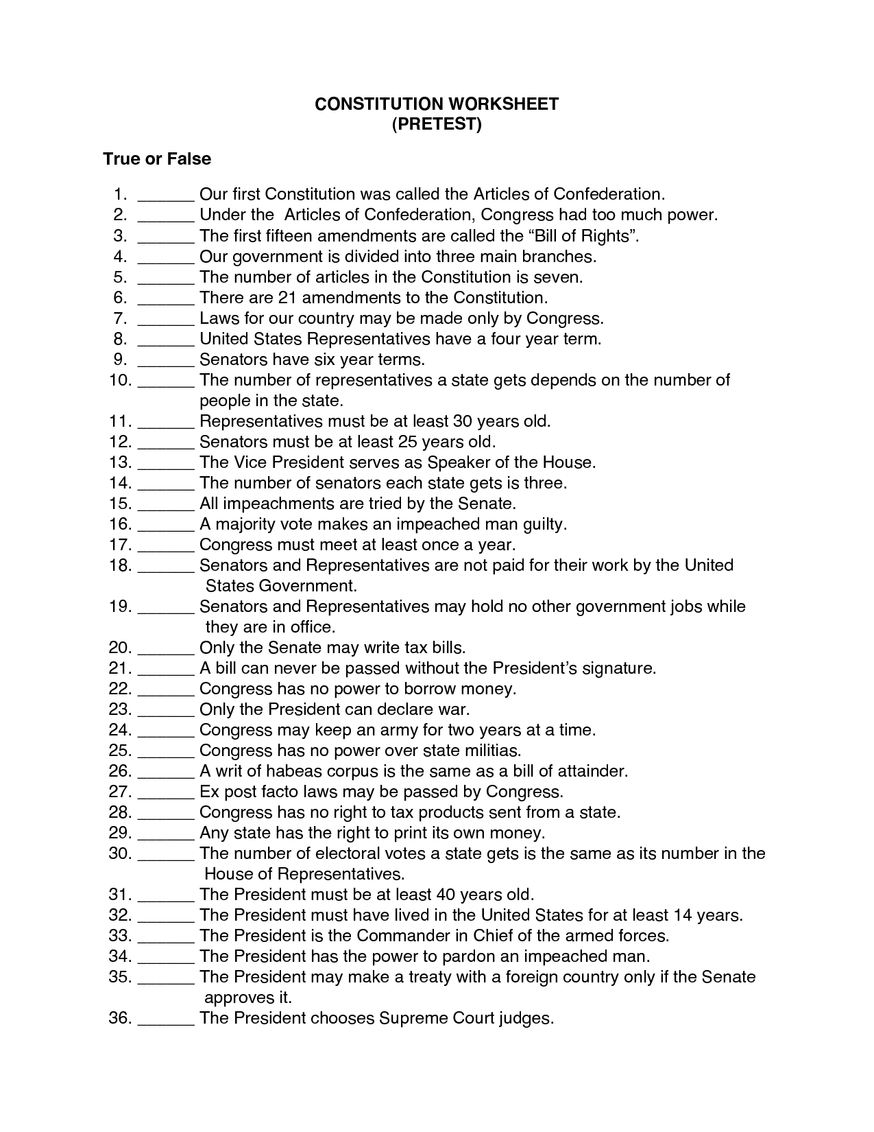 Parts Of The Constitution Worksheet