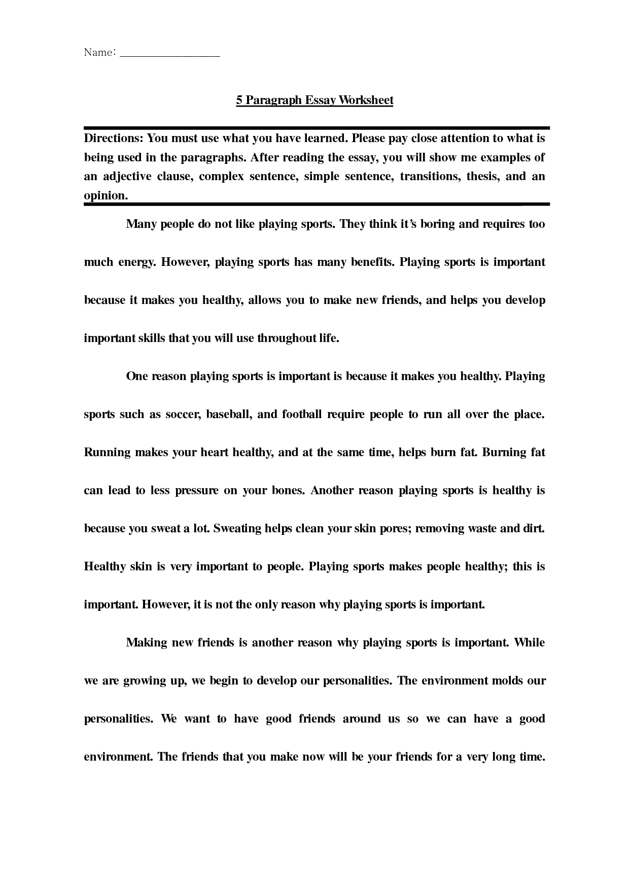 5 Paragraph Essay Template 4th Grade
