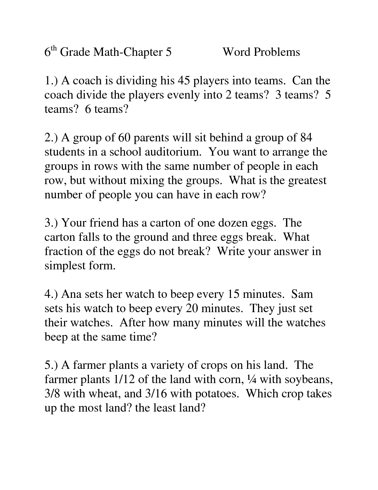 Menu Math Worksheet Word Problems