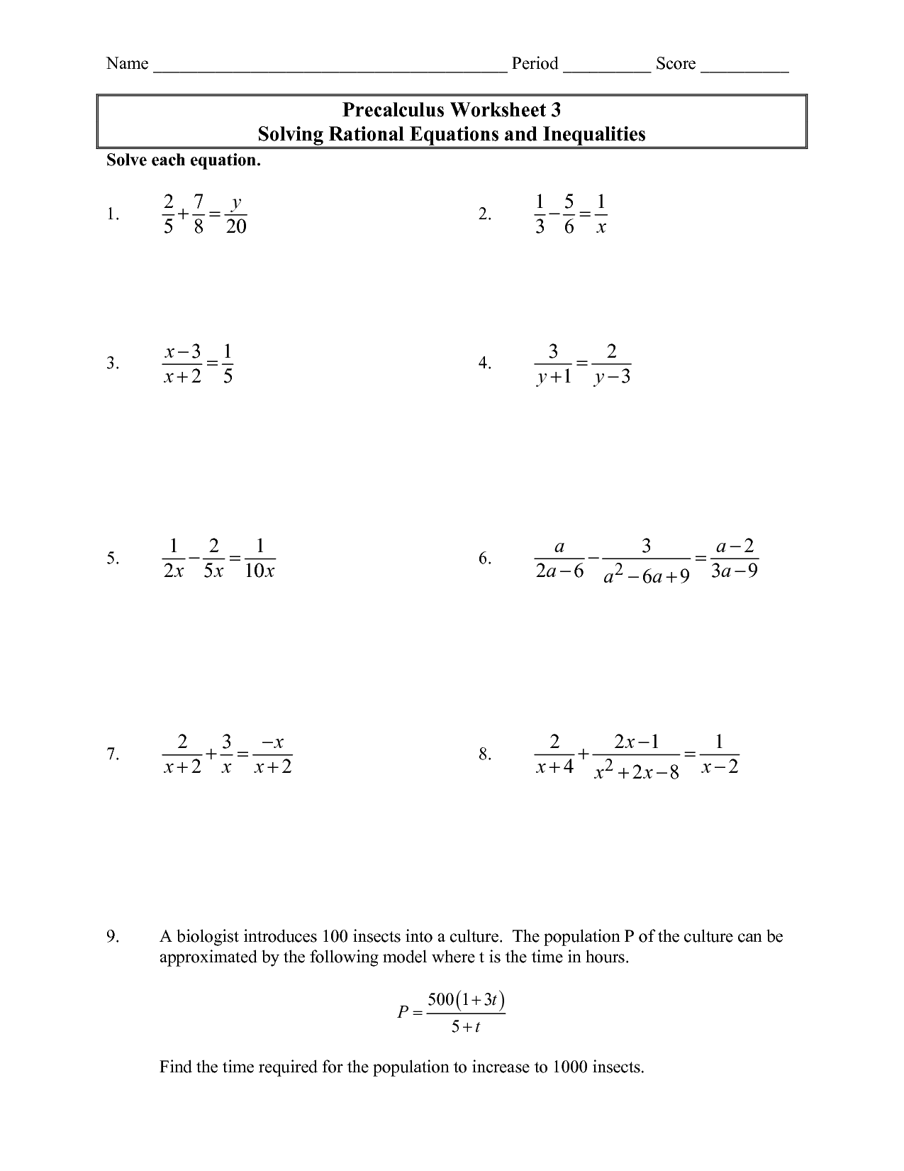 Linear Equations Worksheets Grade 9