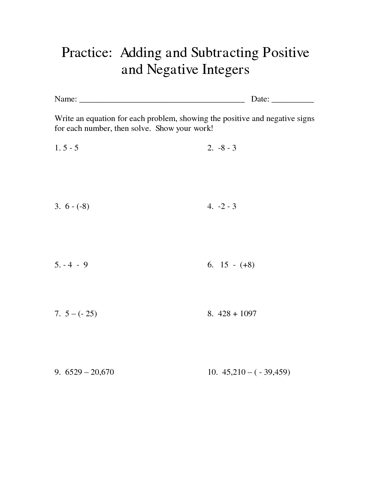 9 Best Images Of Positive And Negative Exponents Worksheet