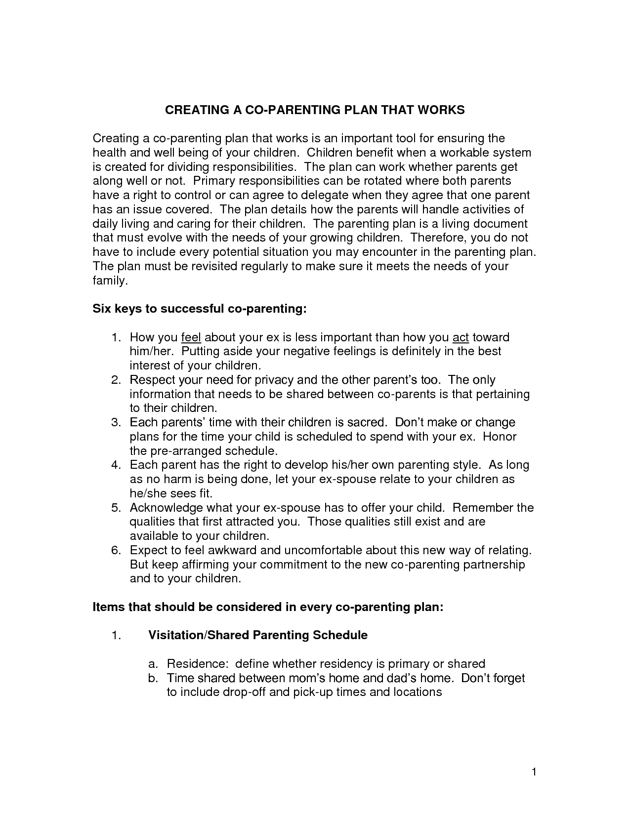 18 Best Images Of Co Parenting Plan Worksheet