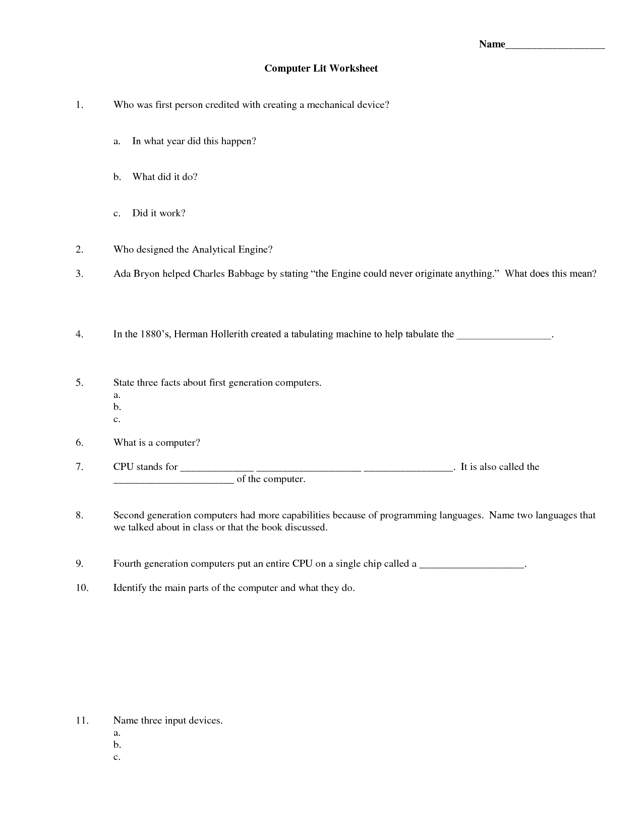 11 Best Images Of Computer Technology Worksheets