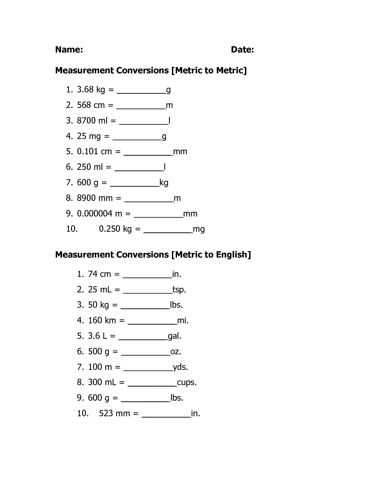 Unit Conversion Worksheet Grade 4