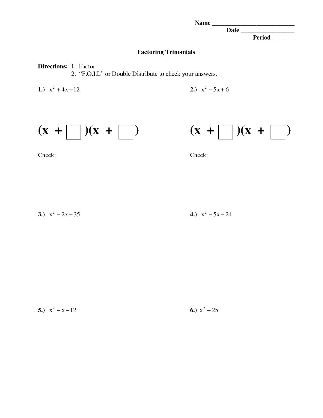 35 Worksheet Factoring Quadratic Trinomials