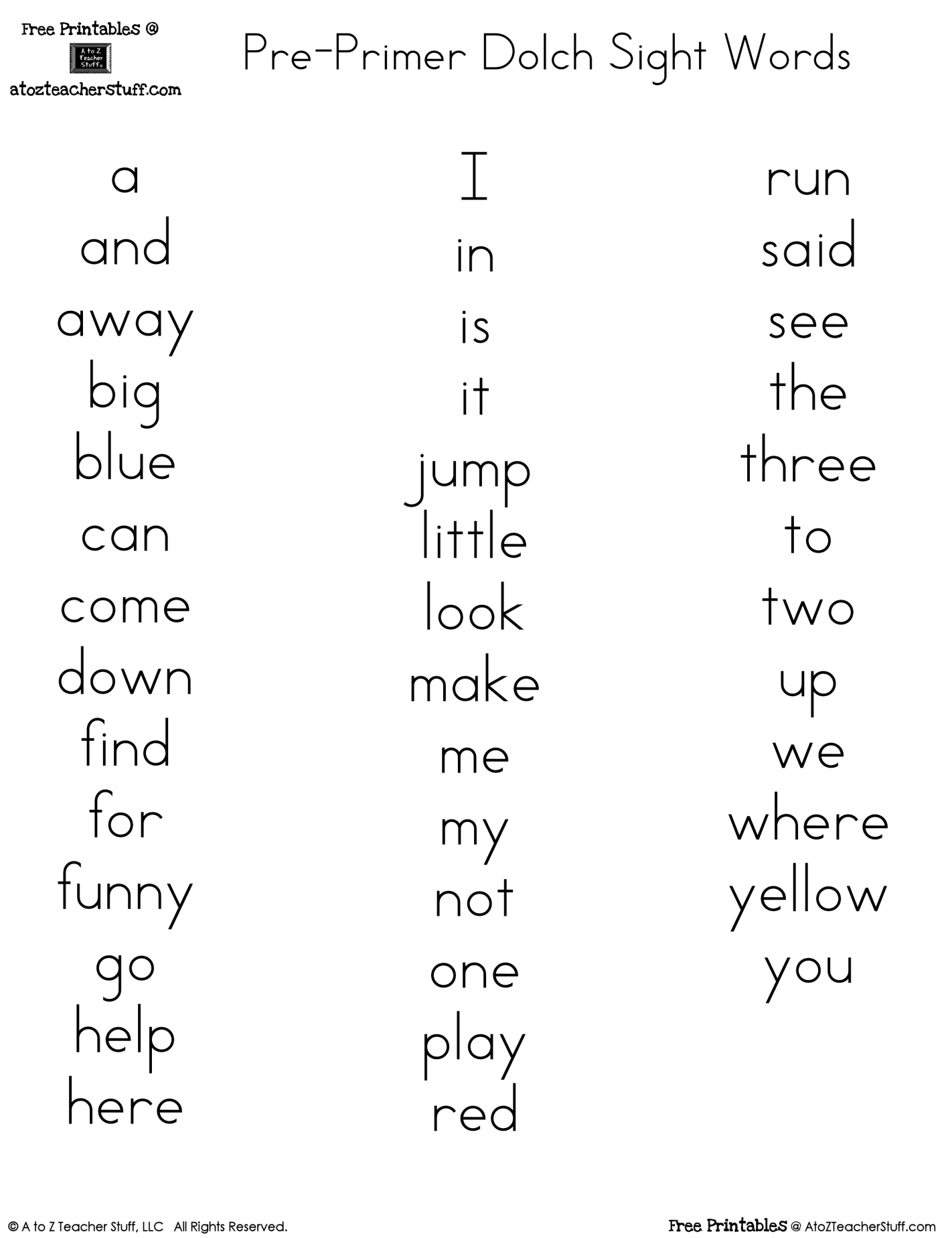 Printable Sight Word See Worksheet