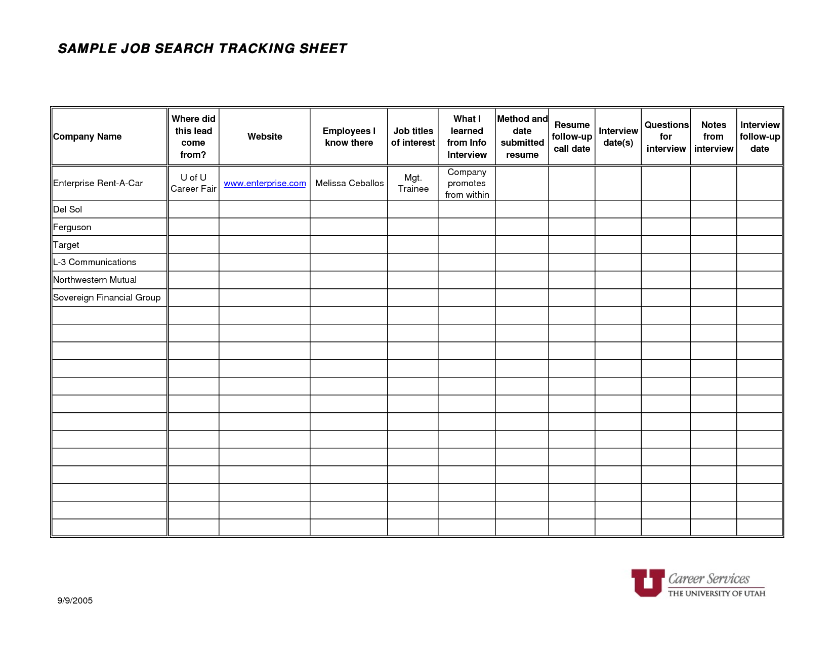 8 Best Images Of Job Tracking Worksheet